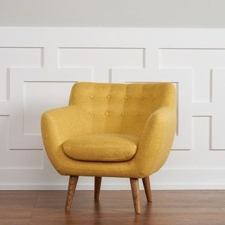 Rhodes Mid-Century Modern Tufted Sunset Yellow Arm Chair by RST Brands