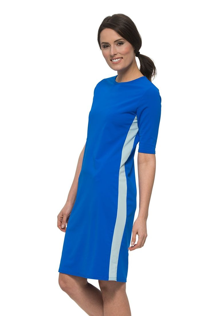 undercover Waterwear Ladies Royal Blue Runner Swim Dress 1X Made by #Undercover Water Wear Color #Royal Blue. ROYAL BLUE RUNNER SWIM DRESS gives extra coverage for swim, sport or resort. Wear any type of bathing suit for even extra coverage. MODEST FASHION is made EASY and BEAUTIFUL with our NEW SWIM LINE! Wear it for biking, hiking, exercise or just as a cover up.