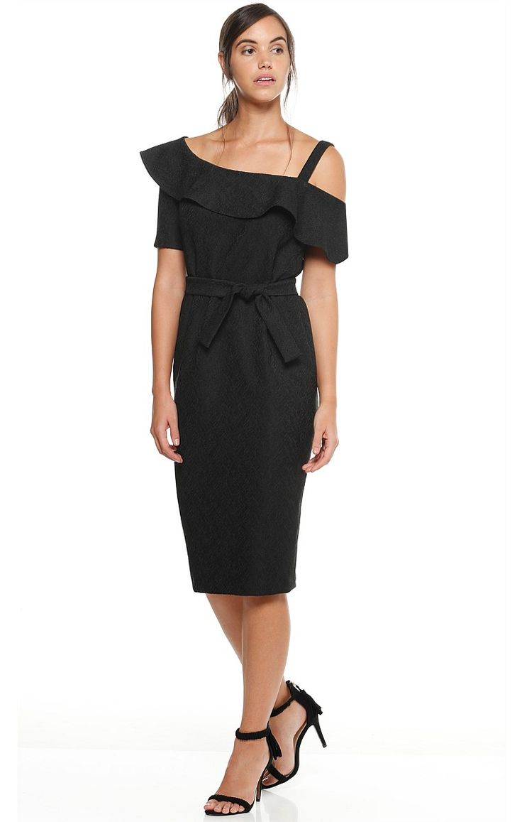 AMARYLLIS JACQUARD CUT OUT SHOULDER FRILL KNEE LENGTH DRESS IN BLACK