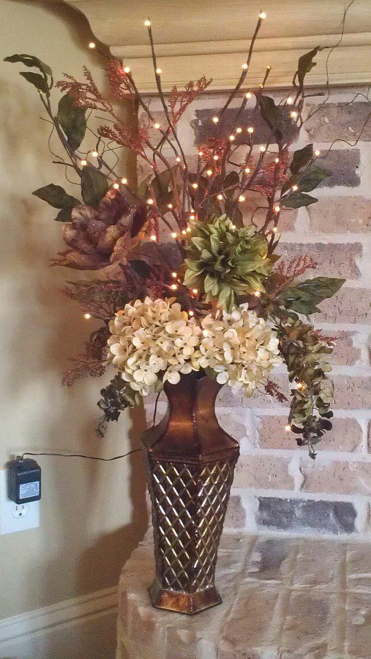 Hobby lobby flowers arranges with kirkland 39 s lighted for Twig decorations home