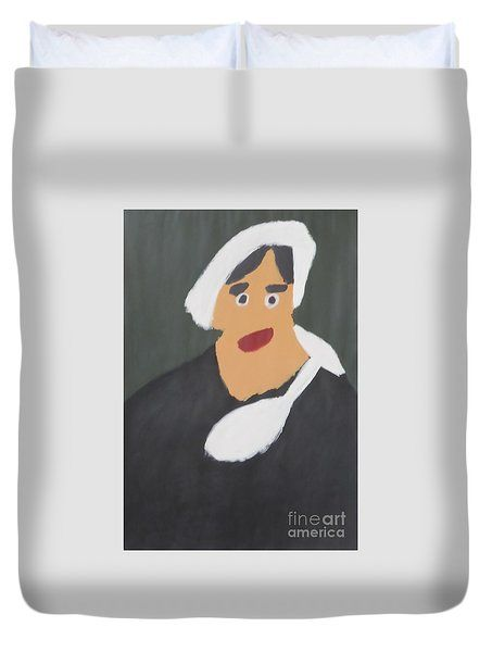 Patrick Francis Duvet Cover featuring the painting Portrait Of A Woman With White Cap 2015 - After Vincent Van Gogh by Patrick Francis
