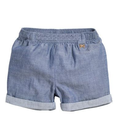 Check this out! Short shorts in airy cotton fabric. Elasticized waistband, smocked detail at front, and sewn cuffs at hems. - Visit hm.com to see more.