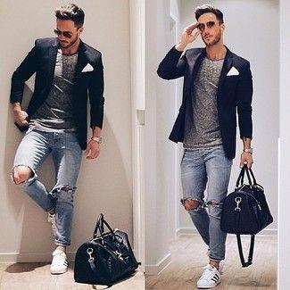 Men's Black Blazer, Grey Crew-neck T-shirt, Light Blue Ripped Jeans, White Low Top Sneakers