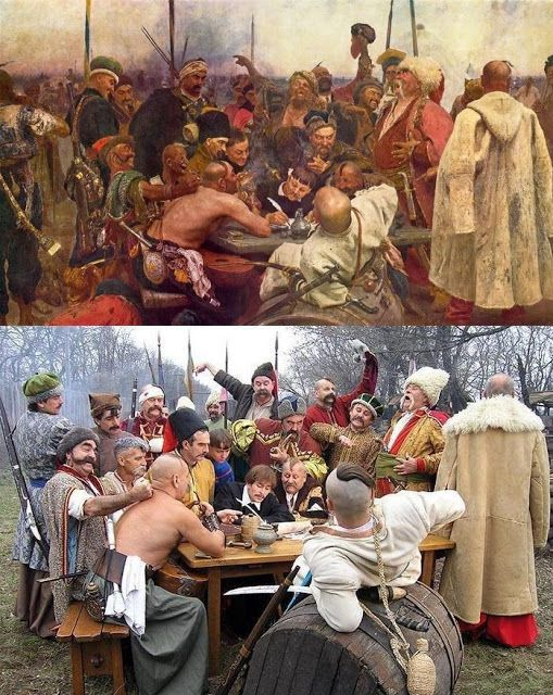 "re-enactment of Ilya Repin's painting ""Reply of the Zaporozhian Cossacks to Sultan Mehmed IV of the Ottoman Empire"""