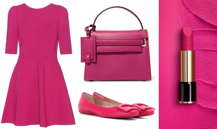 Colours that make us look younger: Magenta, an ideal colour! Dress, Dolce&Gabbana // Bag, Valentino // Shoes, Roger Vivier // Lipstick, Le Rouge Absolu, Lancôme