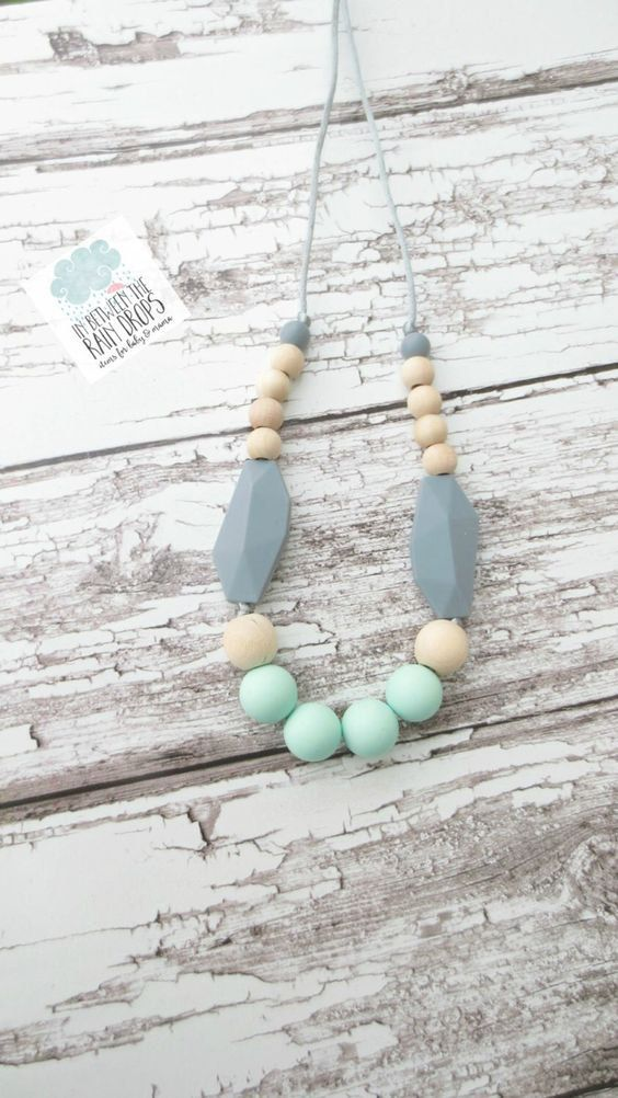 Teethe Necklace, Silicone Teething Necklace, Silicone Beads/,Baby Shower Gift/ New Mom Gift Maternity