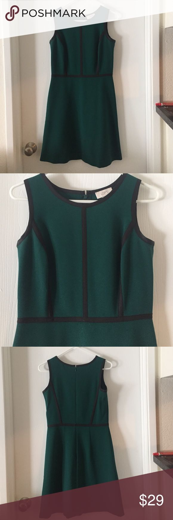 Green and black Loft dress Hunter green Loft dress with black detail LOFT Dresses