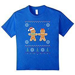 Kids Gingerbread Man & Girl Ugly Sweater Christmas T-Shirt 6 Royal Blue