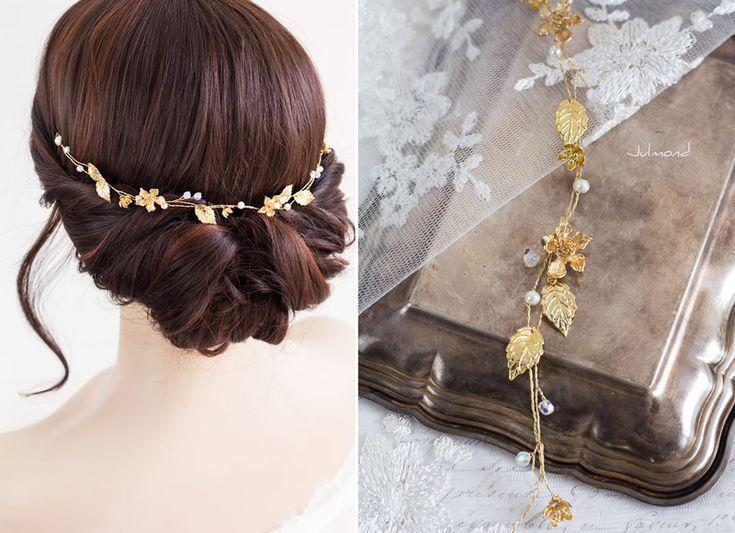 Haarschmuck & Kopfputz - Diadem Hochzeit Gold Haarband Elfe - ein Designerstück von _Julmond_ bei DaWanda