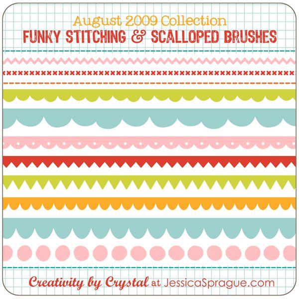 Stitching & scallop brushes.