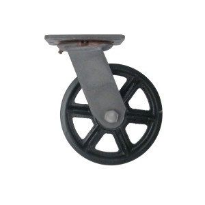 Vintage cast iron swivel caster, Vintage locking industrial caster, Antique style spoke cast iron casters. Feral Forge casters,