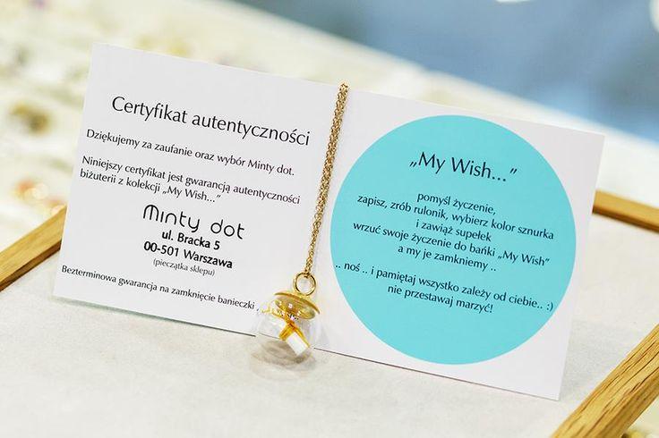 """Twój """"My Wish"""" zostanie opatrzony certyfikatem autentyczności.  My Wish jest wzorem zastrzeżonym."""