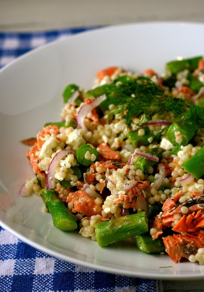 Salmon, Asparagus and Couscous salad is a quick meal that uses spring veggies!