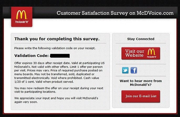 McdvoiceCom  McdonaldS Customer Satisfaction Survey  Piterson