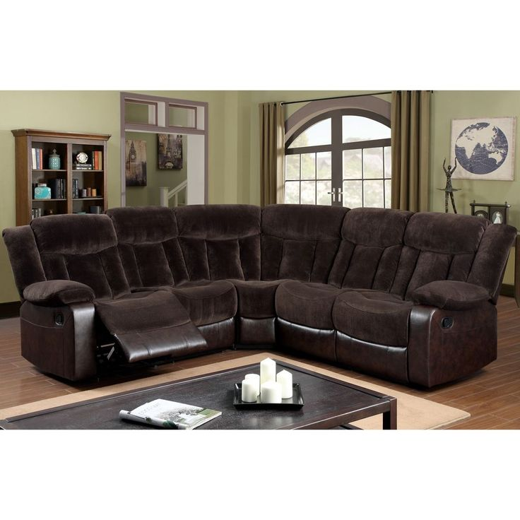 Recliner Sectional Sofa Couch, Faux Leather Curved Sectional Sofa