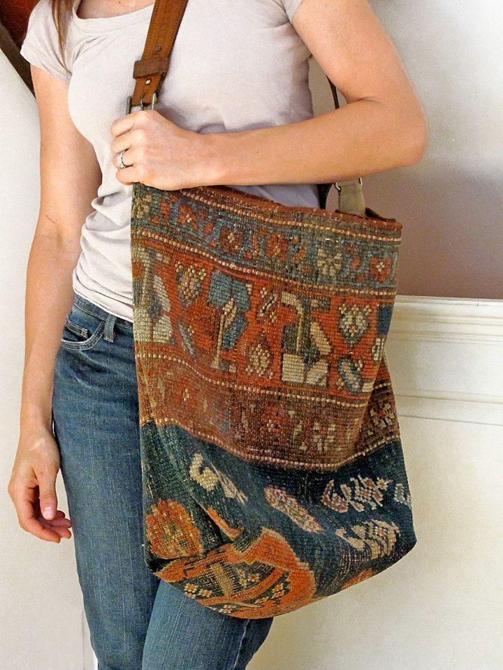 Carpet Bag, Antique Kilim Tote, Market, or Messenger Bag. $235.00, via Etsy.