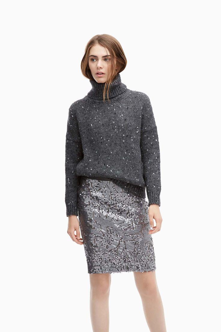 Falda tubo de punto con lentejuelas - faldas | Adolfo Dominguez shop online