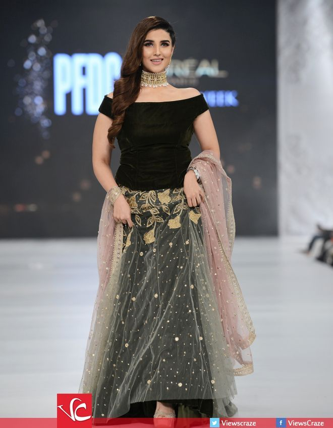Actress Hareem Farooq walks the ramp for designer Saira Rizwan at PFDC L'Oréal Paris Bridal Week 2016 Day 2