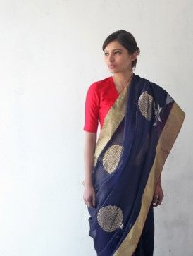 Blue Chanderi & Zari Marigold Saree- Raw Mango