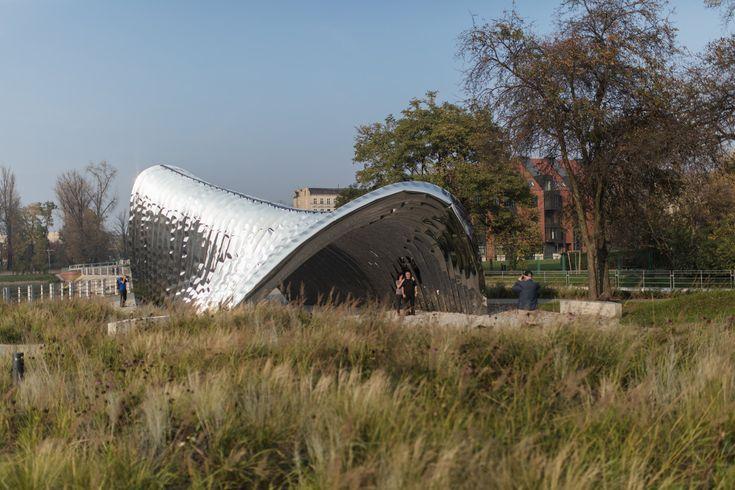 Oskar Zieta inflates steel to create Daliowa island pavilion in Poland