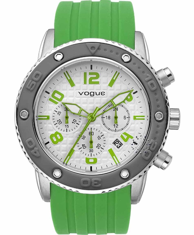 VOGUE Chronograph Green Rubber Strap  165€  Αγράστε το εδώ: http://www.oroloi.gr/product_info.php?products_id=31634