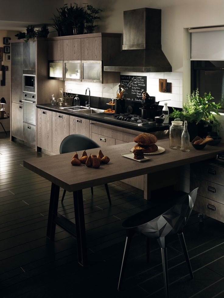 Diesel Social Kitchen gives the familiar old-fashioned kitchen cupboard a new-vintage interpretation | #InteriorDesign #Scavolini