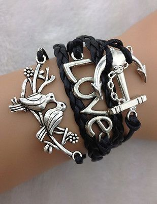 HOT Rhinestone Buckle Bracelet with couple love birds love anchor with chain