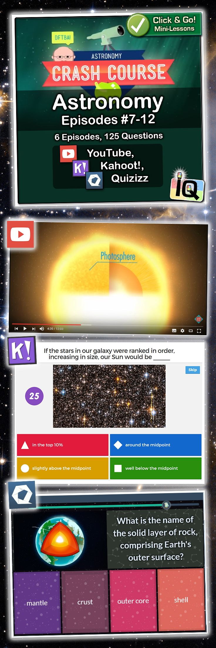 Point and Click for instant Mini-Lessons with Game-Based Assessment!   ?   https://www.teacherspayteachers.com/Product/Crash-Couse-Astronomy-7-12-Interactive-Quizzes-2924060    ?  Game-based learning and assessment with Quizizz and Kahoot!