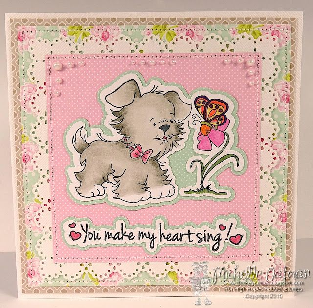 """High Hopes Stamps: You make my Heart sing by Michelle O using """"Puppy Wonder"""" (SS012) & """"Heart Sing"""" (HH016)"""