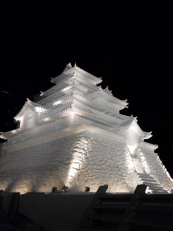 鶴ヶ城 (Aizu-Wakamatsu Castle) - Sapporo Snow Festival, Hokkaido, Japan