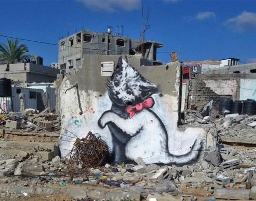 Banksy's Playful Kitten, Gaza, Middle East.