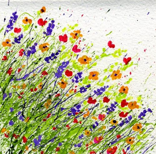 Ideas for Splattered Paint Wild Flower Art Card on watercolor paper from myflowerjournal.com