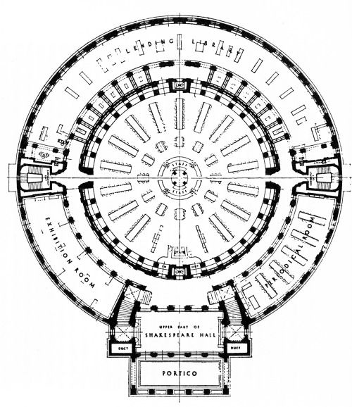 E. Vincent Harris, The Manchester Central Library, First Floor Plan, Manchester, England, 1930-1934