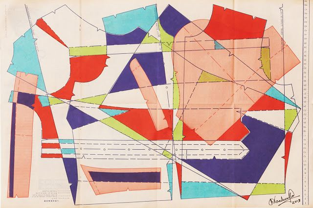 Cool! Collage Abstractions Inspired by Dress Making Patterns from Vintage Fashion Magazines