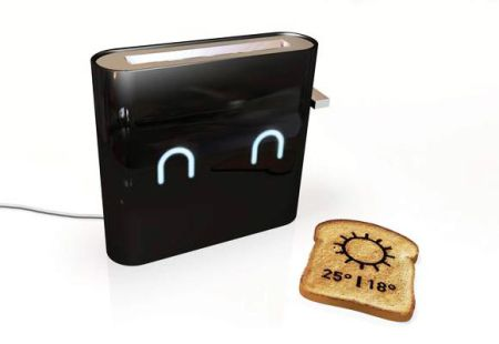 WiFi Toaster that burns the daily weather forecast onto your breakfast toast - concept by Nathan Brunstein