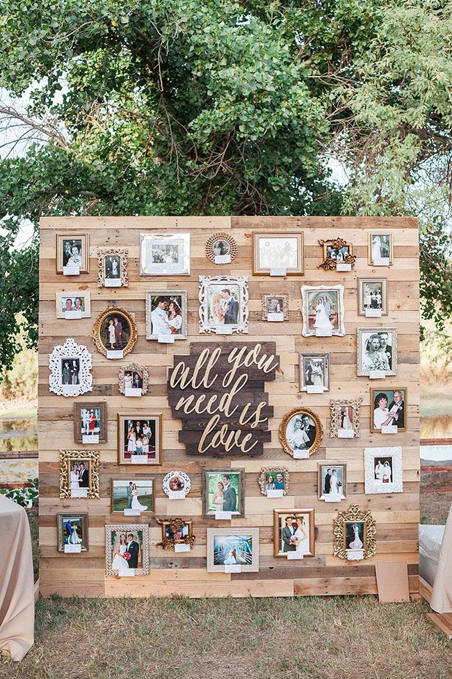 Top 12 Creative Ways To Display Photos At Your Wedding Elegantweddinginvites Com Blog Wedding Photo Display Pallet Wedding Outdoor Wedding Decorations