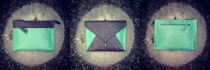 Hot emerald and chocolate iPad case and clutch in one bag by 2ndSKIN design