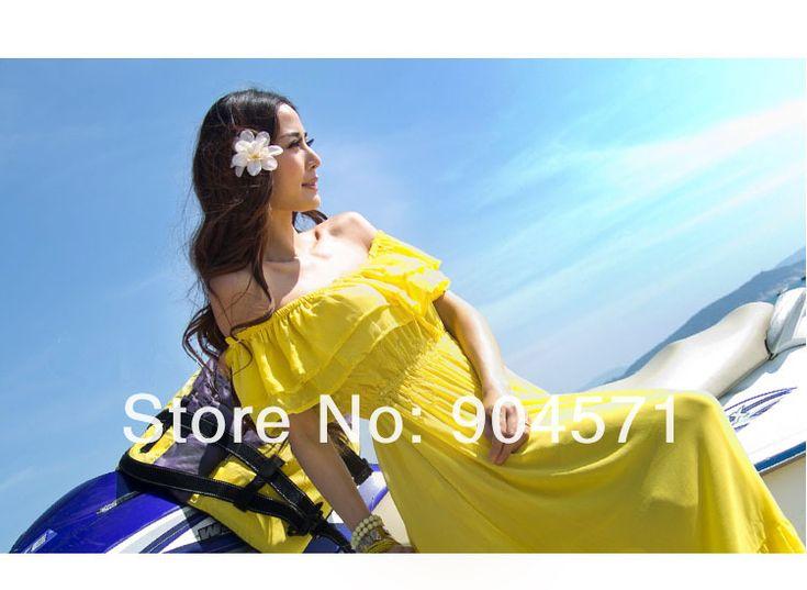 2014 Летнее платье Повседневный отдыха Богемия Пляж Платья Макси высокого качества Лонг Sexy шифон конфеты Цвет Желтый Белый 120CM, принадлежащий категории Платья и относящийся к Одежда и аксессуары для женщин на сайте AliExpress.com | Alibaba Group