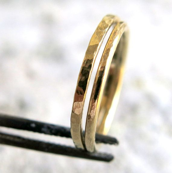 14K Gold Stacking Rings  Two Wedding Rings  by VenexiaJewelry