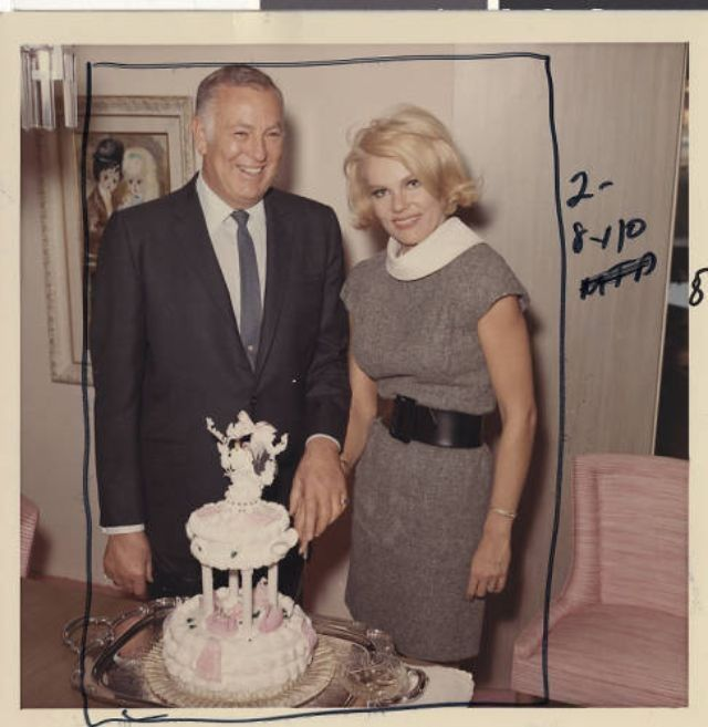 Actress and former Playboy Playmate Corinne Cole married first husband Sands Hotel President, Jack Entratter in Las Vegas in 1967 .... seems  somewhat modest for someone of his stature, doesnt it?