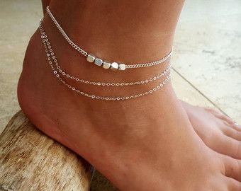 Laura Silver Anklet - Silver Ankle Bracelet - Beaded Anklet - Foot Jewelry - Foot Bracelet - Chain Anklet - Summer Jewelry - Beach Jewelry