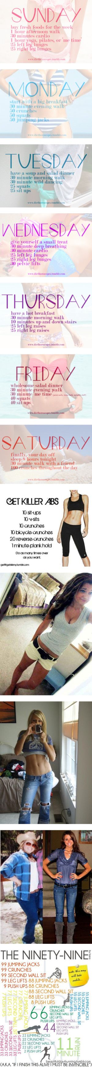 weekly meal and workout ideas.