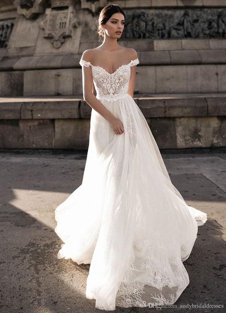 Gali Karten 2019 Sheer Bohemian Wedding Dresses Off the Shoulder Lace Tulle Sweep Train Backless Bridal Gowns