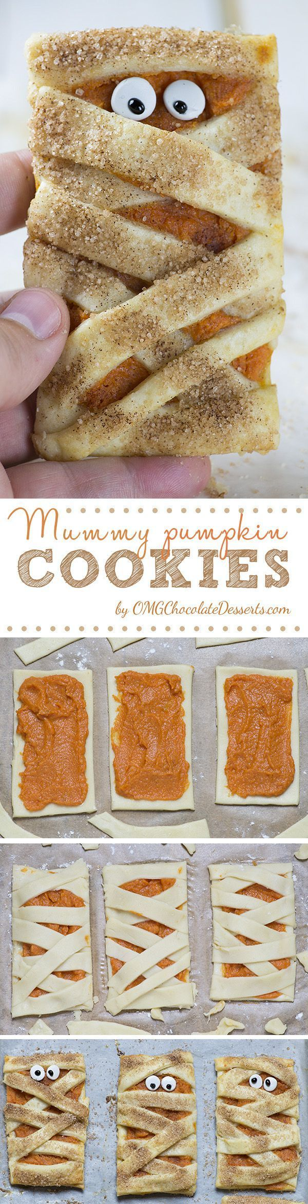If you want a beautiful treat in the shape of frightening mummies for the upcoming Halloween, then these Mummy Pumpkin Cookies will be as much about fun as about taste.