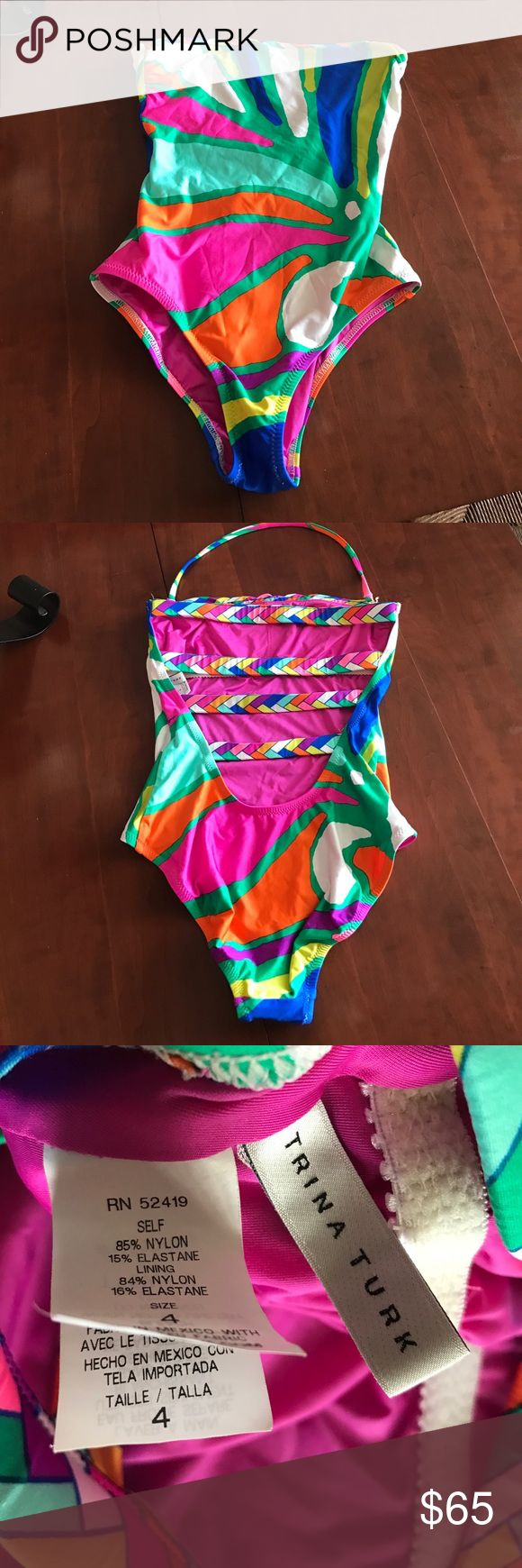 Trina Turk Swimsuit Can wear strapless or with the strap. Only worn once. Too small for me. Trina Turk Swim One Pieces