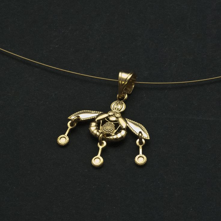 Gold bees Greek pendant necklace.  Ancient Minoan Crete bees necklace in 925 sterling silver 24 karat gold plated  Museum replica, wearable art, Greek jewelry  Detailed representation of two bees carrying  a drop of honey to their honeycomb. This amazing pendant dates back to the Bronze Age (1800 -