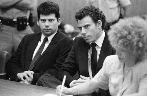 Menendez brothers at trial with their defense lawyer, Leslie Abramson.
