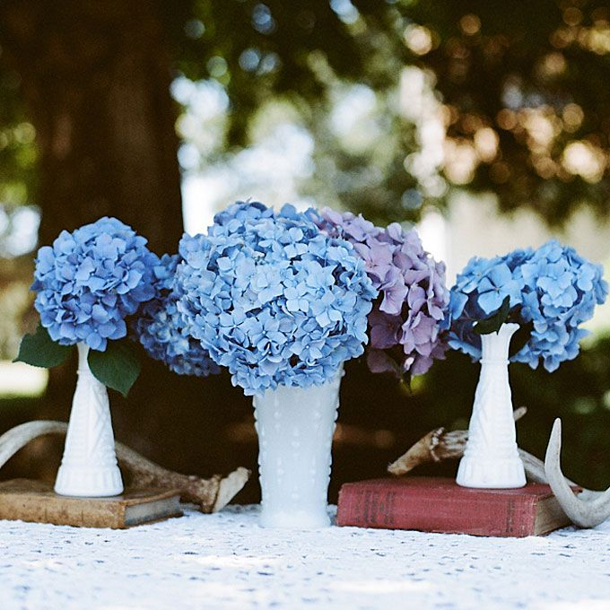 Wedding Bouquets Without Flowers: Blue Hydrangea Wedding Centerpieces