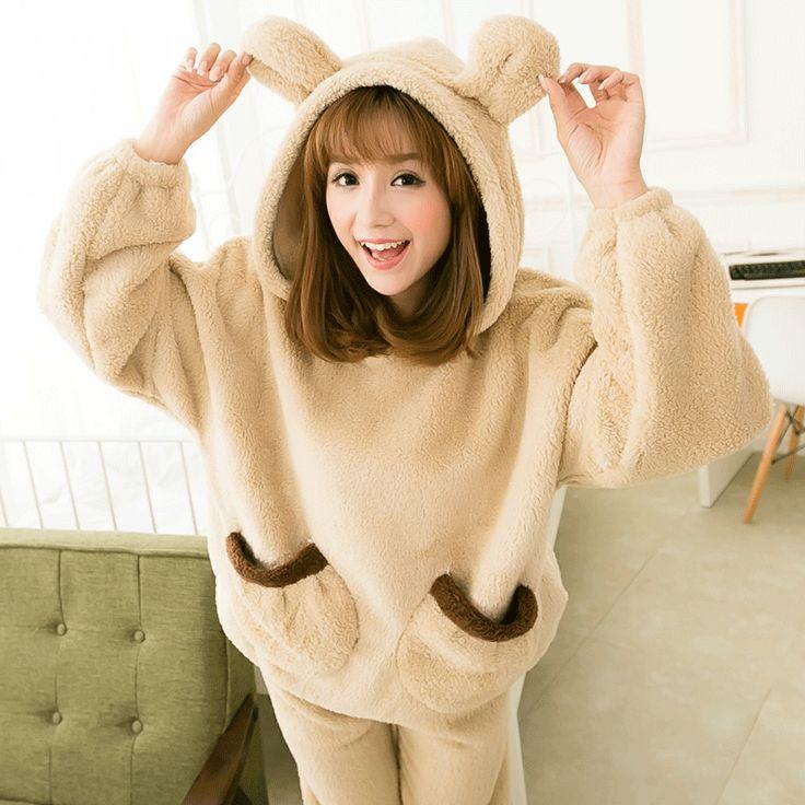 Women autumn winter Flannel Pajama set Adults Cartoon Cute Animal rabbit  Pyjama Suit Sleepwear Stitch pajamas 2 colors