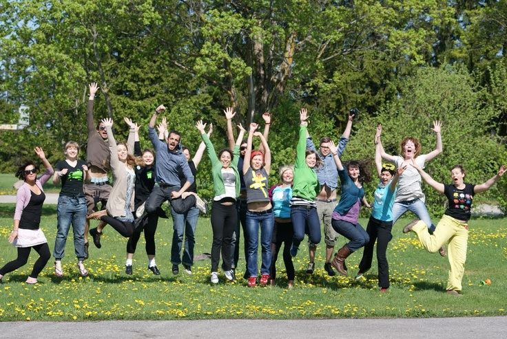 Gaétan from France, ex EVS volunteer in Parnu (Estonia).  This picture was taken in Noa-Rootsi, Läänemaa, Estonia, in May 2011.  This group of people, happy to be reaching for the sky, were volunteers and all together they took a bus to travel around Estonia and met people to tell them Europeans are all neighbours and friends.